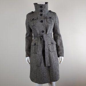 GAP Black & White Herringbone Trench Coat